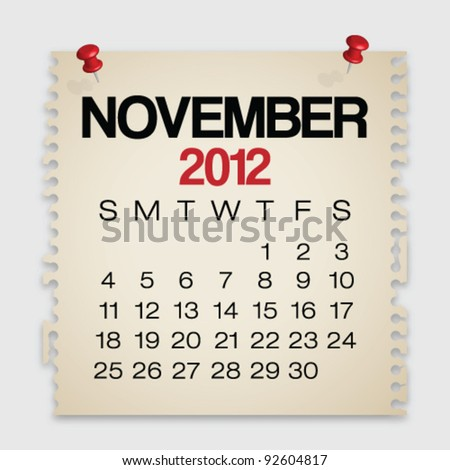 2012 Calendar November Old Torn Paper Vector - stock vector