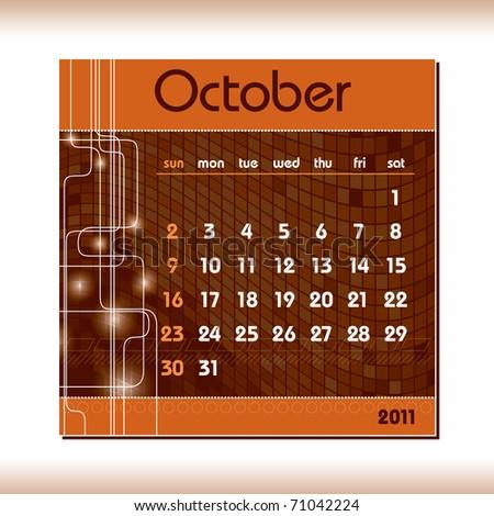 2011 Calendar. October. - stock vector