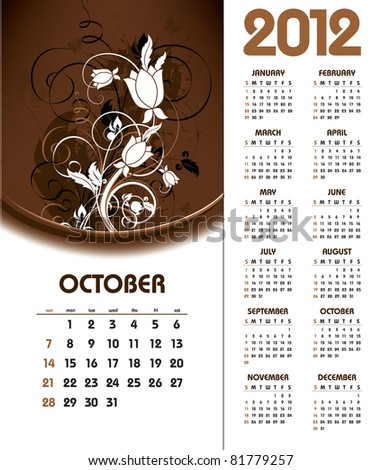 2012 Calendar. October. - stock vector