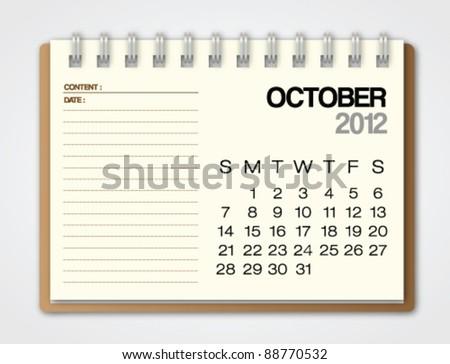 2012 Calendar October notebook vector - stock vector