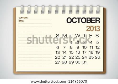 2013 Calendar October Old Torn Paper Vector - stock vector