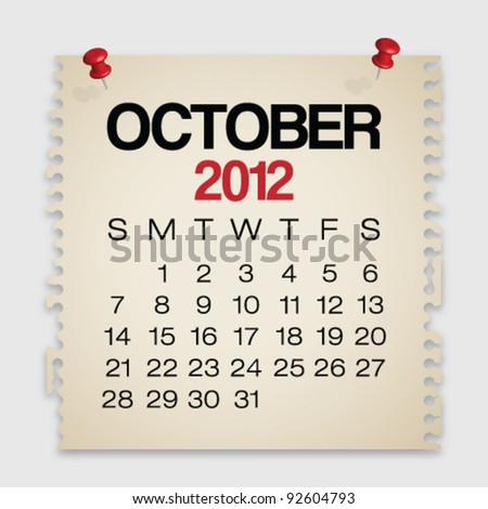 2012 Calendar October Old Torn Paper Vector - stock vector