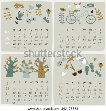 2016 calendar of May, June, July and August with cute illustrations in cartoon style