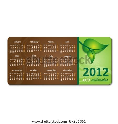 2012 calendar on environmental brochure - stock vector