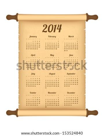 2014 calendar on parchment roll - stock vector