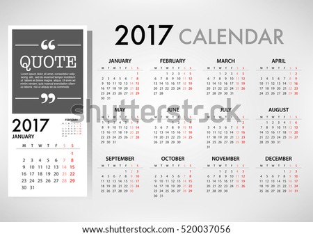 2017 calendar planner design organization business stock vector