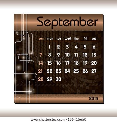 2014 Calendar. September. - stock vector