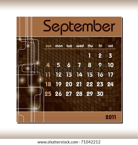 2011 Calendar. September. - stock vector