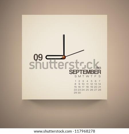 2013 Calendar September Clock Design Vector - stock vector