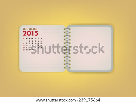 2015 Calendar September Notebook Design Vector - stock vector