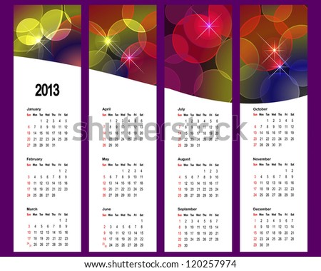 2013 Calendar set with vertical banners. American style. vector.