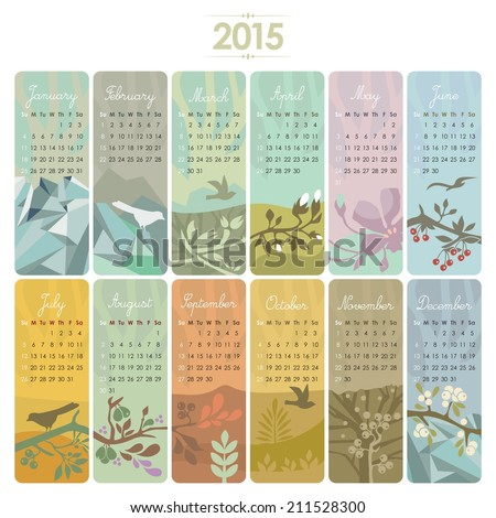 2015 Calendar set with vertical banners or cards. Week starts on Sunday.