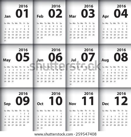 2016 calendar simple design - stock vector