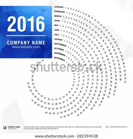 2016 calendar, spiral illustration, swiral shape, Blue polygonal background calendar cover template - stock vector