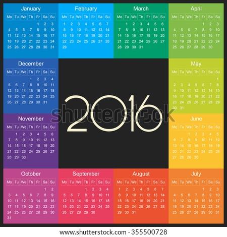 2016 Calendar square illustration. Vector template of colorful 2016 calendar. - stock vector