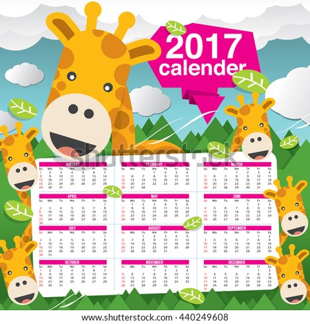 2017 Calendar Starts Sunday Giraffe In Forest Vector Illustration