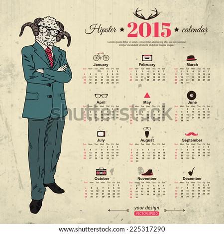 2015 Calendar Template Hipster Design Year Stock Vector 225317290