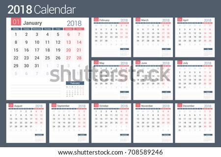 2018 Calendar Template Planner 12 Pages Stock Vector Hd Royalty