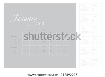 2015 Calendar template vector graphic artwork  - stock vector