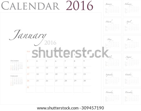 2016 Calendar template, vector graphic artwork, EPS10 illustrate