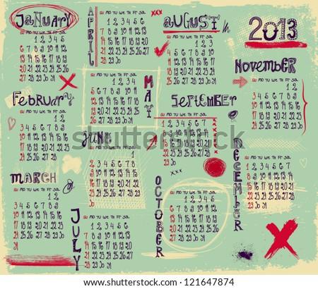 2013 Calendar - Twelve month calendar for 2013 in a grungy style - stock vector