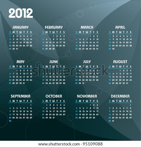 2012 Calendar. Vector Background. - stock vector