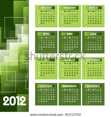 2012 Calendar. Vector Background. Illustration. - stock vector