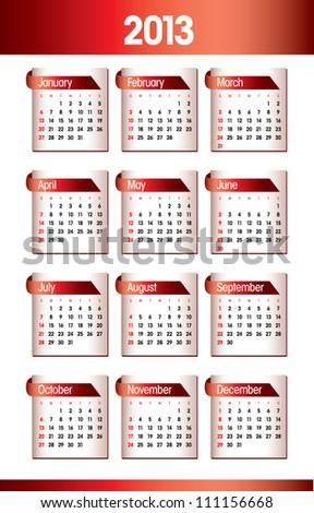 2013 Calendar. Vector Design. - stock vector