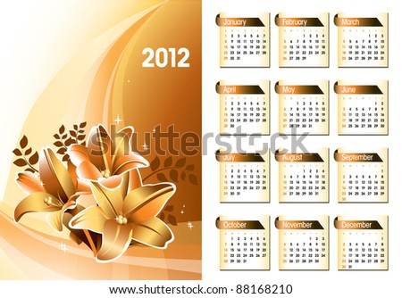 2012 Calendar. Vector Design. - stock vector