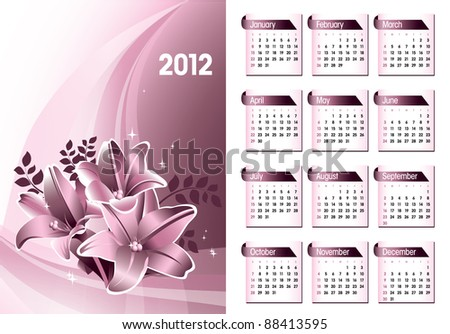 2012 Calendar. Vector Design. Eps10. - stock vector