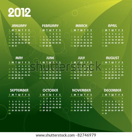 2012 Calendar. Vector. Eps10. - stock vector