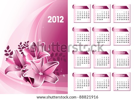 2012 Calendar. Vector Eps10. - stock vector