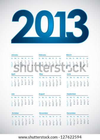 2013 calendar, vector eps10 illustration - stock vector