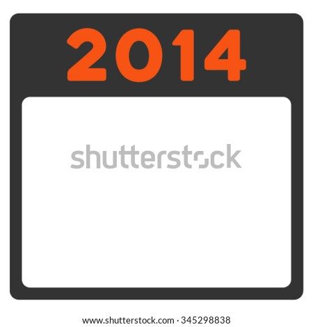 2014 Calendar vector icon. Style is bicolor flat symbol, orange and gray colors, rounded angles, white background.