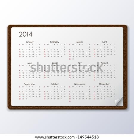 2014 Calendar, Vector illustration. - stock vector