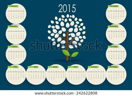 2015 calendar. Vector illustration. - stock vector