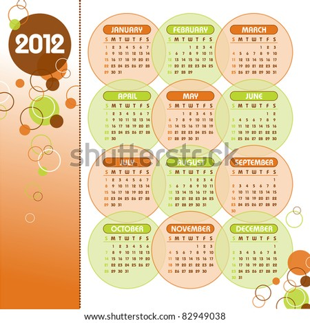 2012 Calendar. Vector Illustration.