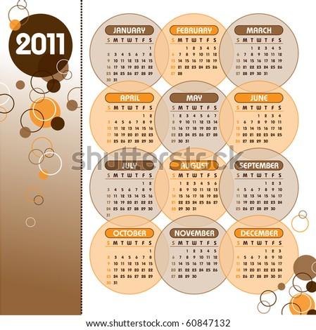 2011 Calendar. Vector Illustration. eps10. - stock vector