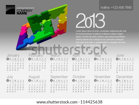 2013 Calendar. Vector Illustration with Puzzle vector element - stock vector