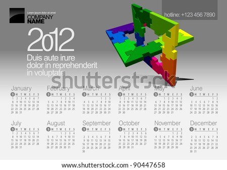 2012 Calendar. Vector Illustration with Puzzle vector element - stock vector