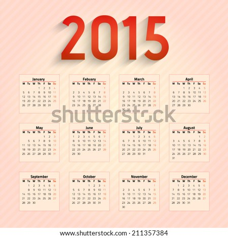 2015 calendar,week starts from Monday