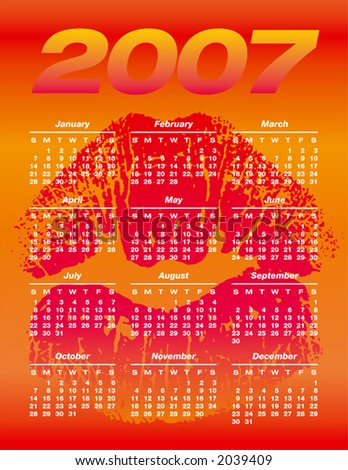 2007 Calendar with a kiss background. Fully editable. Type is both as fonts and as curves.
