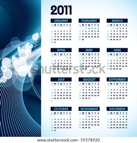 2011 calendar with abstract background. eps10. - stock vector