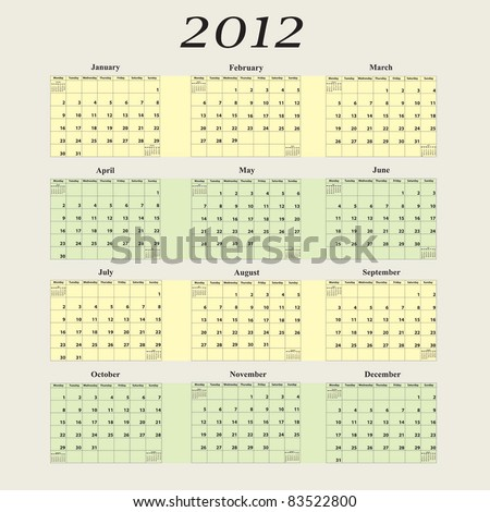 2012 Calendar with first day of week beginning on Monday - stock vector