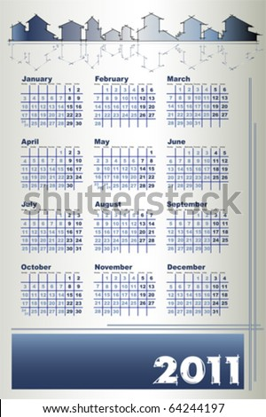 2011 Calendar with houses - Architecture theme