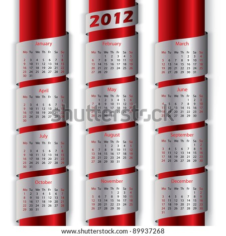 2012 calendar with metallic ribbons for the new year - stock vector