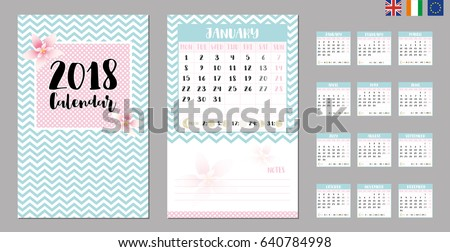 2018 calendar with Moon phases. Suitable for UK, Ireland and European countries.