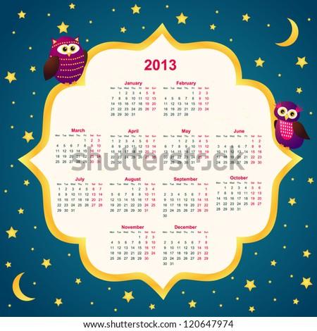 2013 Calendar with owls - stock vector