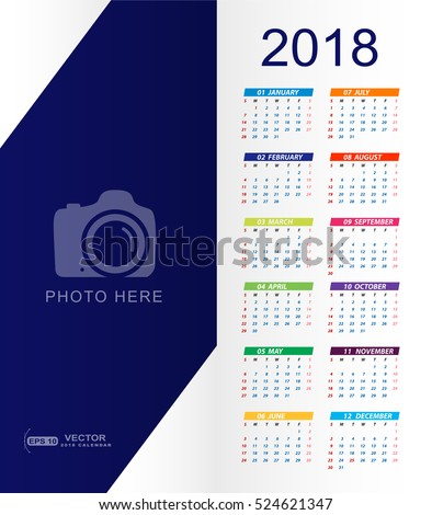 2018 Calendar with place for copy space and photo