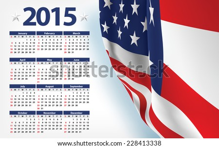 2015 calendar with USA flag - stock vector